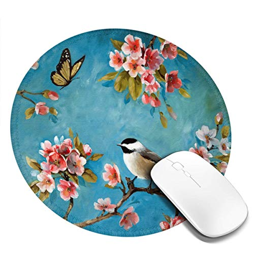 7.9x7.9in ronde muismat bureau Amerikaanse bloemen en vogels toetsenbord mat grote muismat voor computer desktop laptop