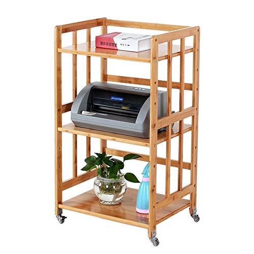 HLLZRY Serving Küchenwagen Barwagen Utility-Bücherregal mit Leitschiene Bamboo Trolley Organizer-Rack auf Rädern für Wohnzimmer,55cm