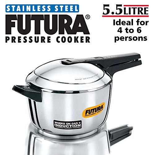 Hawkins Futura Stainless Steel Induction Compatible Pressure Cooker, 5.5 Litre