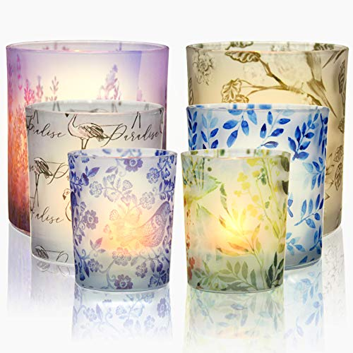 TOPTIME Glass Votive Tea Light Candle Holder Set of 6, Frosted Glass Holders with Plant & Flamingo Patterns -Tealight Candle Holder for Weddings, Party and Home Decor - 4pcs Flameless Candles included