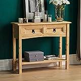 Amazon Brand - Movian Corona Console Table, 2 Drawer With Shelf, Solid Pine Wood, 70 x 83 x 31 cm