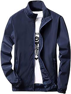 JURTEE Men's Casual Pure Color Plus Size Outdoor Sportswear Parka Jacket Long Sleeve Zipper Cardigan Overcoat Outwear