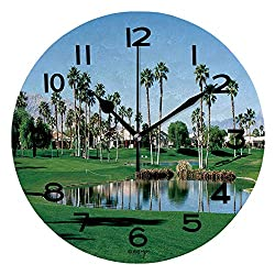 ALUONI Print Round Wall Clock, 10 Inch Palm Springs Golf Course Quiet Desk Clock for Home,Office,School IS101507