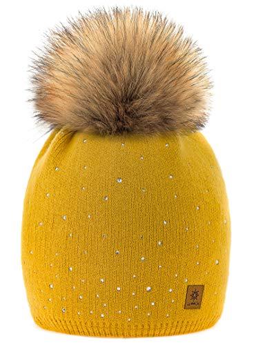 MFAZ Morefaz Ltd Damen-Wintermütze mit Schal und Mütze, gestrickt, Bommel Gr. Erwachsene, Senf Verona