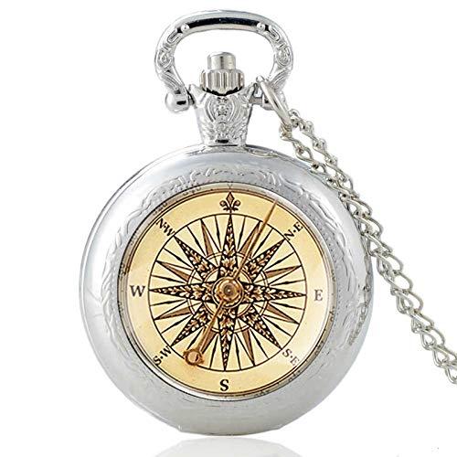 XTQDM Reloj de Bolsillo,Reloj de Bolsillo de Cuarzo con cabujón de Cristal con diseño de brújulaAntiguaVintage Hombres Mujeres Colgante Collar Cadena Reloj joyería Regalos Plata