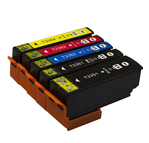 Bergsan 5 Druckerpatronen kompatibel zu Epson 33XL 33 XL T3351 T3361 T3362 T3363 T3364 für Epson Expression Premium XP-530 XP-540 XP-630 XP-635 XP-640 XP-645 XP-830 XP-900