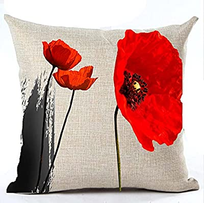 Beautiful Charming Watercolor Oil Painting Red Poppy Sweetheart Cotton Linen Throw Pillow Case Cushion Cover New Home Office Indoor Decorative Square 18 X 18 Inches (9)