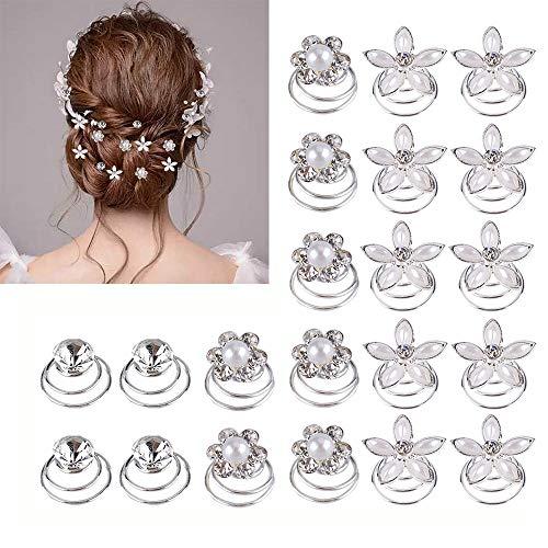 Gudotra 36pcs Épingles à Cheveux en Spirale de Cristal Artificiel Accessoires de Coiffure pour Épouses