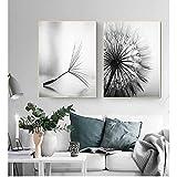 Decoración de la sala de estar cartel de la pared abstracta sin marco flor de diente de león pintura de la lona cuadros de arte blanco y negro moderno para el hogar