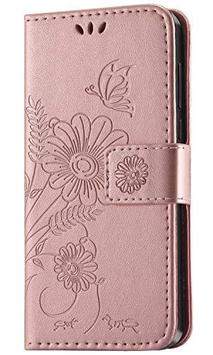 kazineer Huawei Y6 2019 Hülle, Leder Tasche Handyhülle für Huawei Y6 2019 / Honor 8A Schutzhülle Brieftasche Etui Hülle (Pink-Gold)