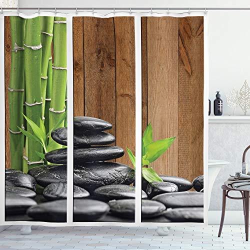 ABAKUHAUS Piedras Cortina de Baño, Ramificaciones de bambú spas Rocas, Material Resistente al Agua Durable Estampa Digital, 175 x 180 cm, Gris Oscuro Marrón Verde