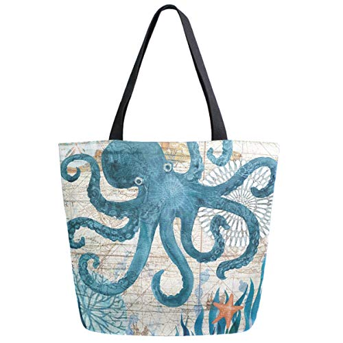 ZzWwR Vintage Nautical Octopus Starfish Old Map Print Extra Large Canvas Shoulder Tote Top Storage Handle Bag for Gym Beach Weekender Travel Reusable Grocery Shopping