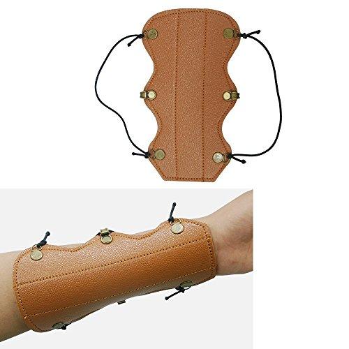 SPORTSMANN Armschoner Bogensport Pfeil Hut Armschutz mit Unterarmschoner Shooting Schutzhülle, Leder Armband, dunkel braun