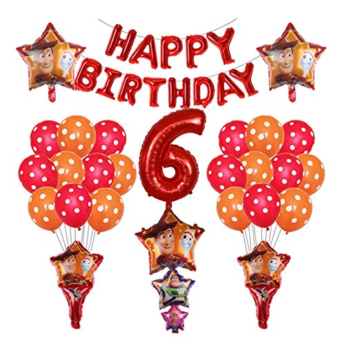 ZHENXIN Balloon 39pcs Woody Buzz Lightyear Cartoon Foil Balloons 32 Inch Number Blue Red Baby Shower Birthday Party Decor (Color : Red 6)
