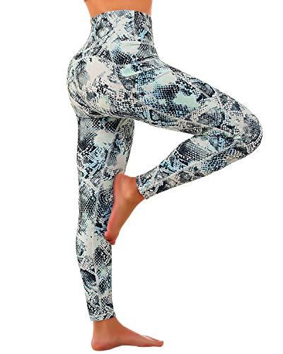 FAFAIR Sport Pants Training Hohe Taille Leggings Laufhose Tights mit Taschen Yogahose Damen Blue Snake Print XL