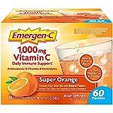 Emergen-C 1000mg Vitamin C Powder, with Antioxidants, B Vitamins and Electrolytes, Vitamin C Supplements for Immune Support, Caffeine Free Fizzy Drink Mix, Super Orange Flavor - 60 Count