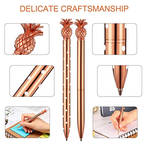 Pineapple Pens Metal Ballpoint Pens Rose Gold Pens for School Office Supplies, 1.0 mm, Black Ink (12 Pieces) Photo #5