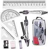 Set de Geometría,10 Piezas Juego de Brújula de Geometría Kit de Transportador de Matemáticas Incluye Reglas Prolongador Lápiz de Brújula Plomo Replicas Lápiz, Borrador para Escuela y Oficina