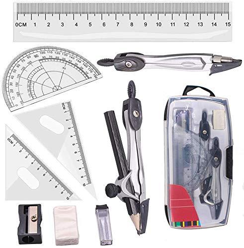 Geometrie Set, 10 teiliges Kompass Mathe Winkelmesser Bleistiftspitzer Schreibwaren-Kit Lineale Dreieck-Zeichnungsset für Schüler zu Hause Schule Zeichnen in Tragetasche