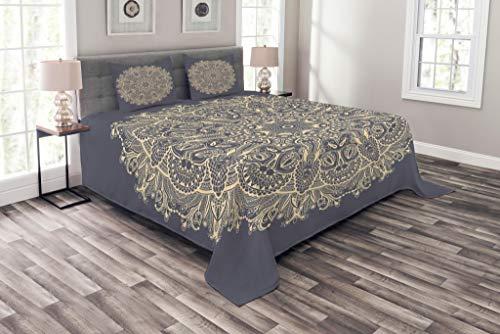 ABAKUHAUS Mandala Tagesdecke Set, Asian Style Blumenmuster, Set mit Kissenbezügen Ohne verblassen, für Doppelbetten 264 x 220 cm, Kadett blaues Elfenbein
