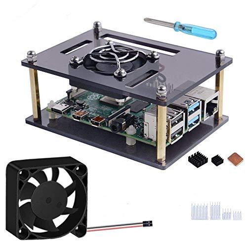 GeeekPi Case per Raspberry Pi 4 Modello B/Pi 3 Modello B+,Raspberry Pi Custodia con Ventola di Raffreddamento 40x40x10mm & Radiatore per Raspberry Pi 3/2 Modello B/B +