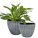 LA JOLIE MUSE Flower Pots Outdoor Indoor, Modern Chic Planters with White...