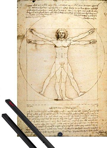1art1 Leonardo Da Vinci Poster (91x61 cm) Vitruvianischer Mensch VI Inklusive EIN Paar Posterleisten, Schwarz