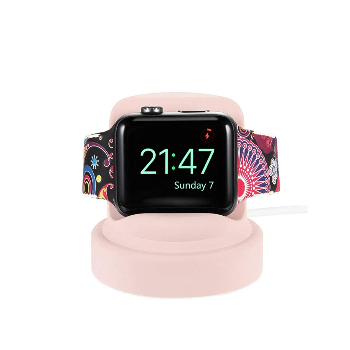 certainPL Compatible Apple Watch Stand, Silicone Charging Dock for Apple Watch Series 4 / Series 3 / Series 2 / Series 1 (Pink)