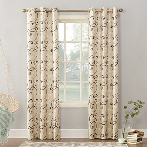 """Sun Zero Brice Scroll Print Thermal Insulated Energy Efficient Grommet Curtain Panel, 40"""" x 84"""", Natural"""