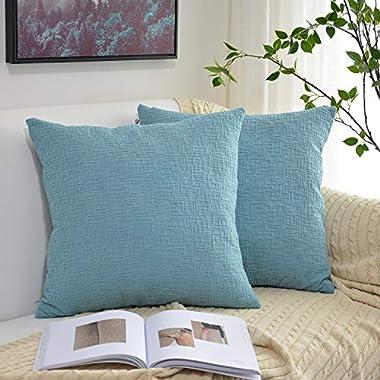 Kevin Textile Decorative Pillows, Velvet Solid Striped Throw Cushion Cover Sham Pillow Cover Soft Sofa Pillows Case for Chair, 20x20 inch (50cm),Set of 2,Niagara Blue