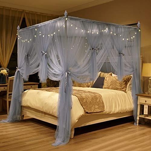 Verschlüsselte Bodenstehendes Moskitonetz Mit Vier-eck-bett Frame, 3 Openings Princess Bed Canopy Mit Edelstahlhalterung Und Beleuchtung-grau 150x200cm(59x79inch)
