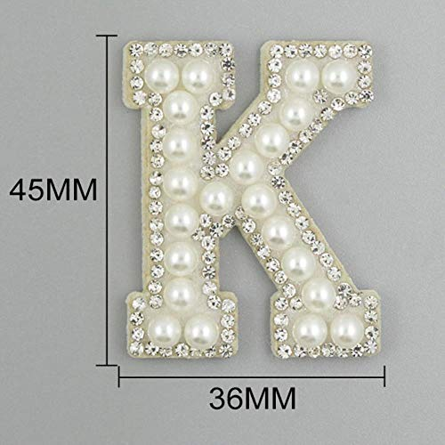 LLine 26 Engelse Letters Parel Strass Patches Voor Kleding Alfabet Parel Steentjes Applique Naai Lijm DIY, K