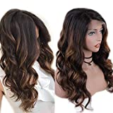 Zana Hair Brazilian Virgin Hair Lace Front Wigs Highlights Blonde Ombre Human Hair Wigs For Black Women Glueless Front Lace Wig With Baby Hair 130% Density 18inch