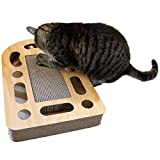 Furhaven Pet Furniture for Cats and Kittens - Rectangular Corrugated Cat Scratcher Interactive Busy Box Pet Toy with Catnip, Tan Woodgrain, One Size
