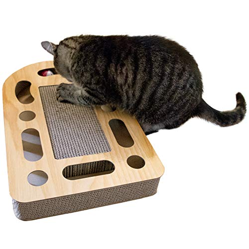 Furhaven Pet Cat Furniture - Rectangle Corrugated Cat Scratcher Cardboard Busy Box Toy with Catnip for Cats and Kittens, Tan Woodgrain, One Size