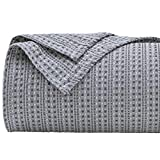 PHF Cotton Waffle Blanket King Size (108 x 90 inches) Yarn Dyed Weave Bed Texture Home Decor Softness Comfort Lightweight All-Season Grey