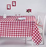 ElfRoutes Mantel Cuadros Vichy - Mantel Cocina - Mantel de Tela - Mantel%100 Algodon (Rojo, 155 X 155 cm)