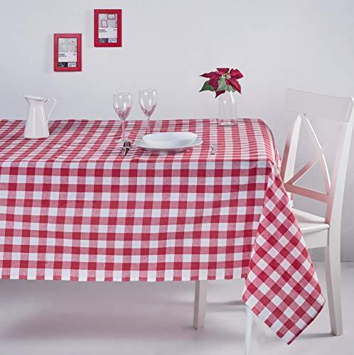 ElfRoutes Mantel Cuadros Vichy - Mantel Cocina - Mantel de Tela - Mantel %100 Algodon (Rojo, 155 X...