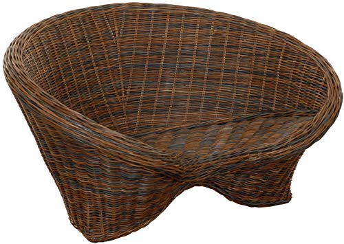 korb.outlet Lotus-Stuhl aus echtem Rattan/Yoga Sitz zur Meditation (Schwarz...