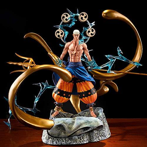 One Piece Actionfigur, 13.7 Zoll-Enel-Figur, Donnergott Halt Trident-Modellierung, Stehhaltung, PVC-Material, Gold um Enel, austauschbarer Kopf, Anime-Garagen-Kit zur Dekoration