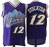 WSWZ Camiseta De Baloncesto De La NBA - 12# John Stockton Camisetas De La NBA para Hombre - Chalecos Cómodos Casuales Camisetas Deportivas Camisetas Sin Mangas,XL(180~185CM/85~95KG)