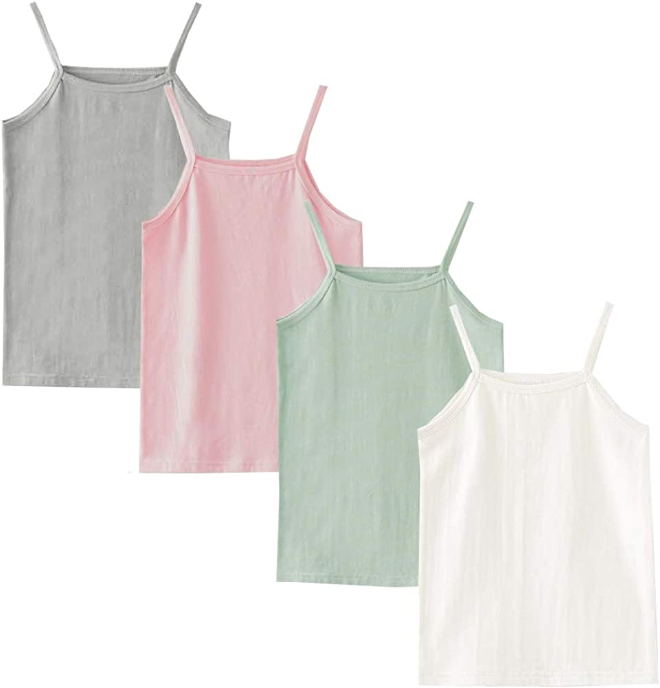 Nightaste Toddler Girl's Soft Cotton Camisoles Undershirt Little Kids Pack of 4pcs Tank Tops with Cute Prints Fits 2-9 Years
