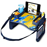 """JumpOff Jo – Kids Car Seat Travel Tray for Carseats, Booster Seats – Holds Toys, Snacks, Drinks, Art and Drawing Supplies, iPad, Tablet or Phone – 17' x 12"""" - Blue Dinosaurs"""
