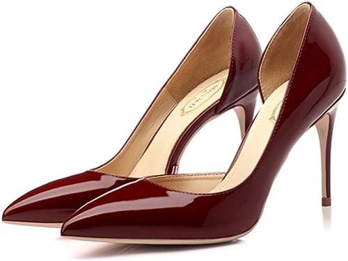 FUTER Zapato de Corte Hauszapatos Individuales mujer PU + Goma Lateral Vacío Punta Estrecha Boca Baja Tacón Fino 8.5   10cm Tacones Altos rojo Vino