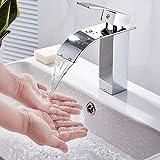 Grifo de lavabo cascada, grifo de baño con bobina de cerámica, agua fría y caliente ajustable, grifo mezclador de lavabo de latón H59, fácil de instalar