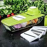LLJDD Cortador de Vegetales Envase de Alimentos Mandolina Ajustable Slicer 4 Blades Intercambiables
