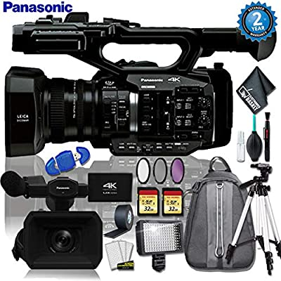 Panasonic AG-UX90 4K/HD Industry Camcorder + Padded Backpack + 32gb Memory + Led Light w/ 72 Inch Tripod + 3PC Filter + Gaffer Tape + Cleaning Kit w/ (2 YR Warranty) from Panasonic