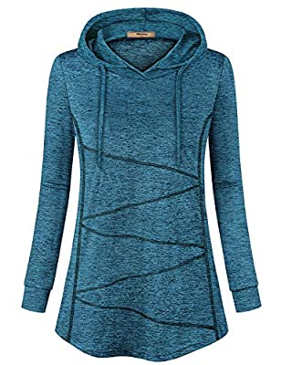 Miusey Fitness Hoodie Women, Ladies Softness Gym Tops Cuff Sleeve Zigzag Printed Pattern Sport Shirts Pilates Yoga Autumn Boutique Clothing Table Tennis Badminton Outwear Blue XL