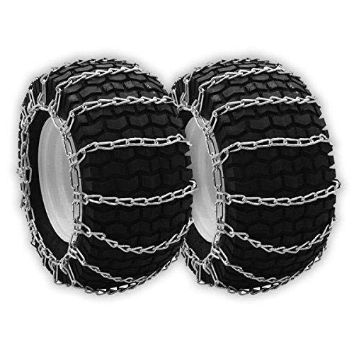 Set of Two Chain Fits Tire Size 20x7x12, 20x8.00x8, 20x8.00x10, 20x9.00x8, 21x7x10 Garden Tractor Rider Snow Blower