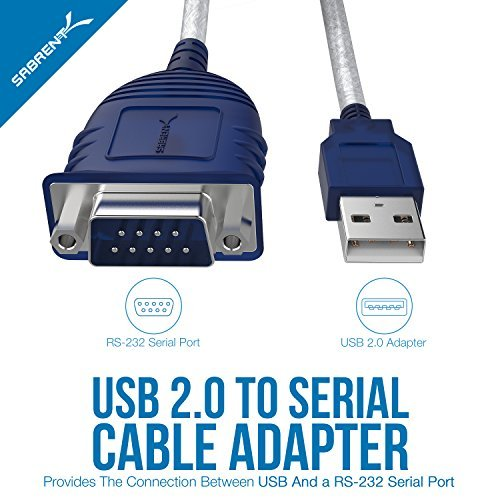 Sabrent USB 2.0 to Serial (9-Pin) DB-9 RS-232 Converter Cable, Prolific Chipset, - HEXNUTS - , [Windows 10/8.1/8/7/VISTA/XP, Mac OS X 10.6 and Above] 2.5 Feet (CB-DB9P)